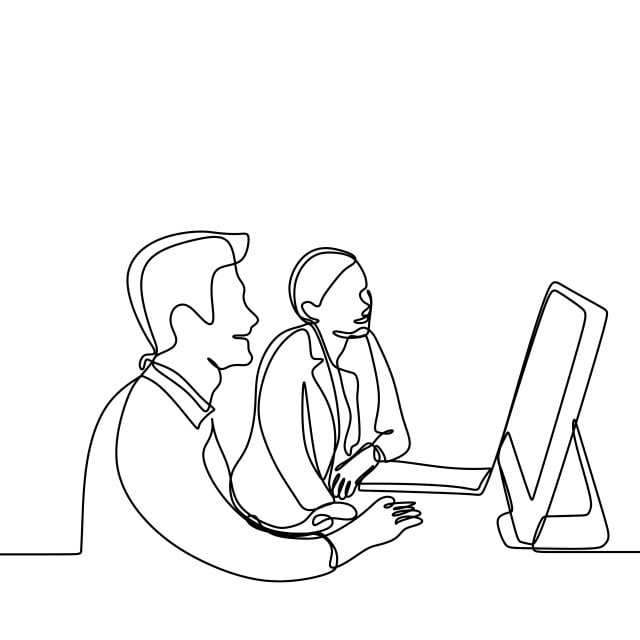 Man And Girl Doing Work And Discussion For Project With A Computer