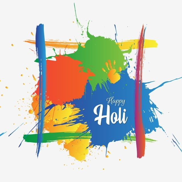happy holi with brush splatter handprint and brush stroke