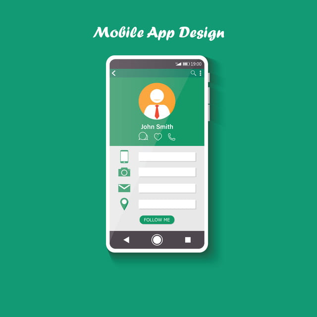 Model Of Smartphone With User App On The Screen Clean Design Template For Mobile Ui Concept