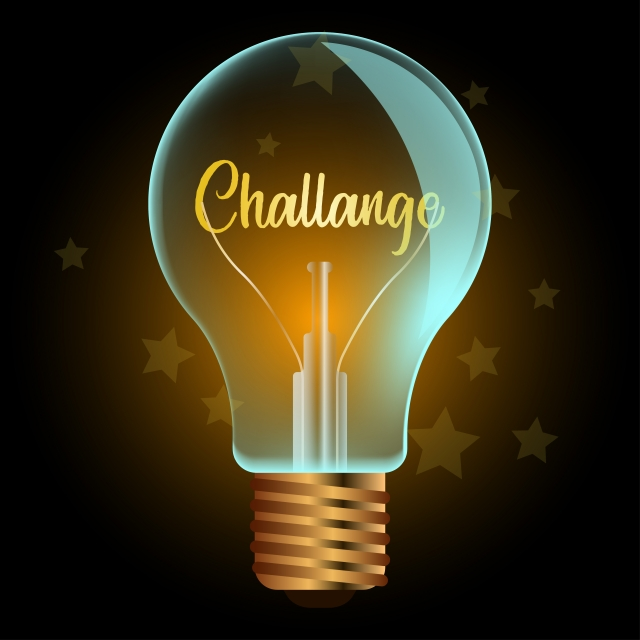 challenge word business in light bulb  background