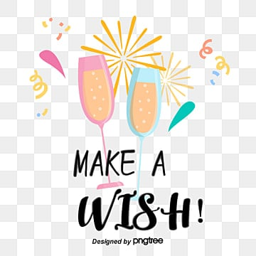 Wine cup touch cup make a wish birthday hand-painted style font, Make A Wish, Typeface, Coloured Ribbon PNG and Vector