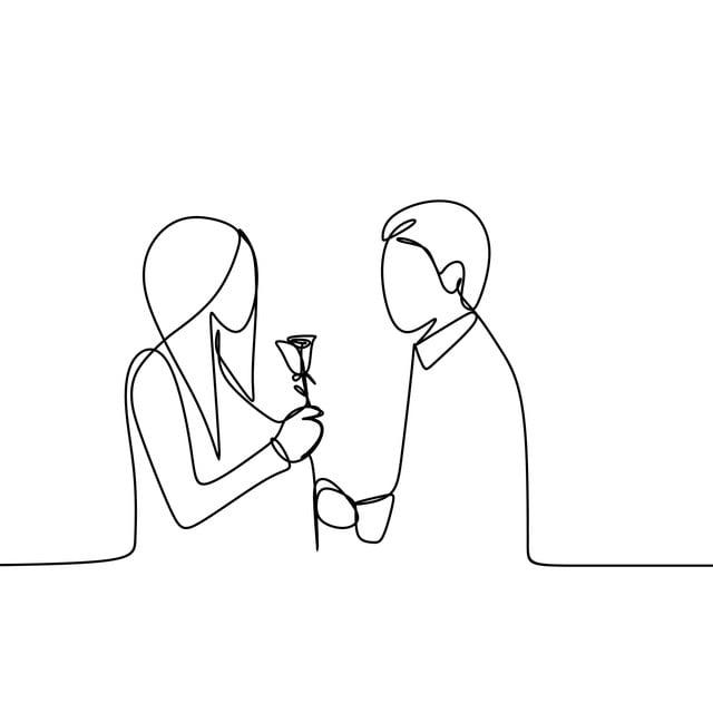 Konsep Romantis Pasangan Cinta Berterusan Lukisan Garis Vektor