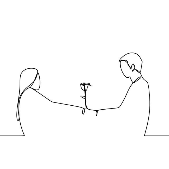 Conceito De Casal Apaixonado Em Linha Continua De Desenho