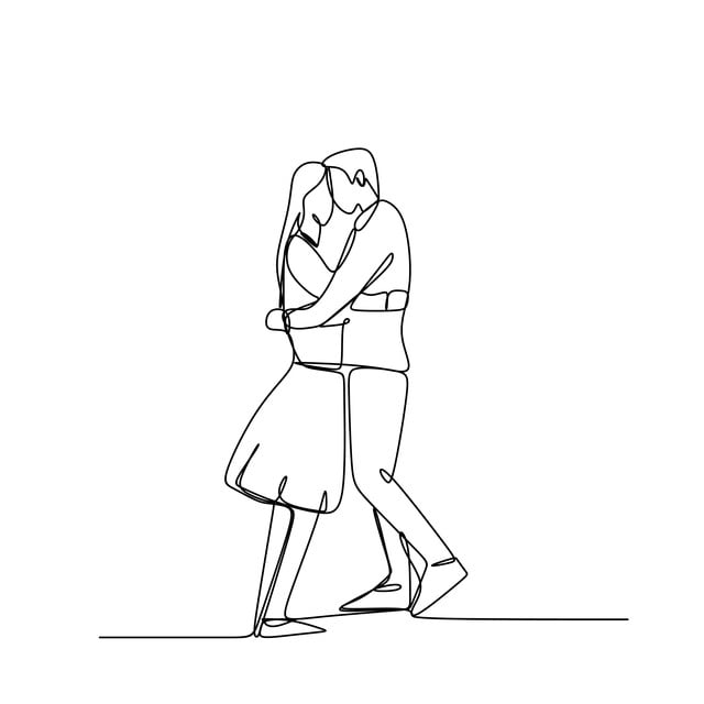 مفهوم رومانسية زوجين في الحب المستمر خط الرسم التوضيح النواقل