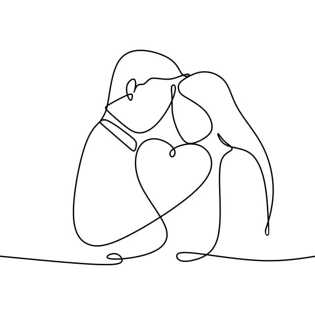 Couple In Love With Continuous One Line Drawing Vector Illustration Linear Continuous Line Valentine Png And Vector With Transparent Background For Free Download