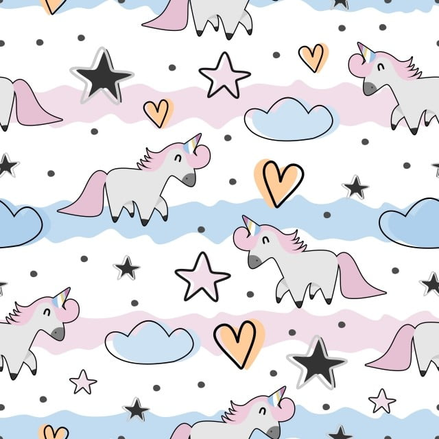 c90d09cf2 Cute Baby Fashion Background With Unicorn Childish Drawing Seamless ...