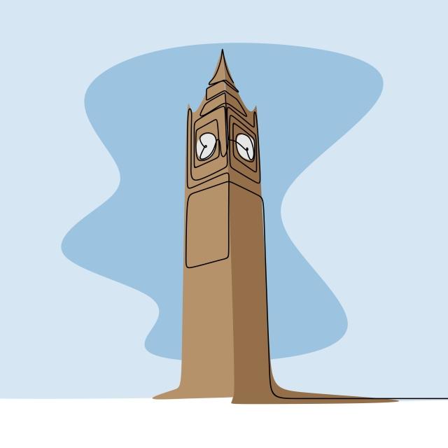 4a2f3d16c رسم خط واحد من برج ساعة بيج بن في مدينة لندن البريطانية حر PNG و سهم التوجيه