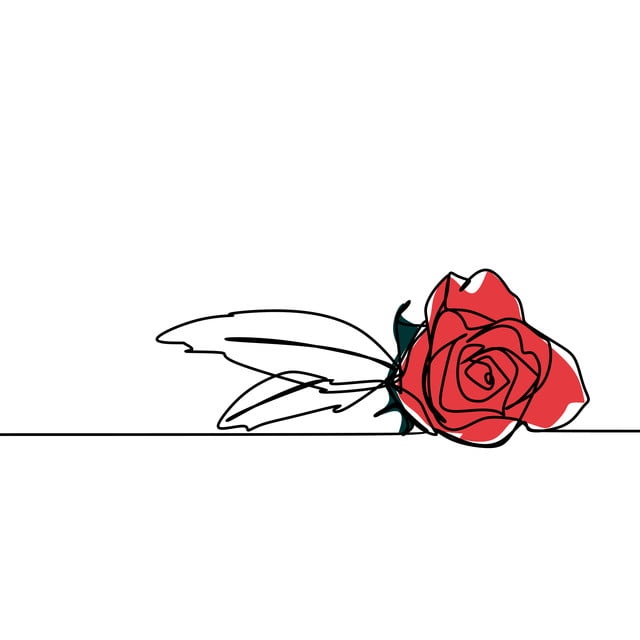 One Line Drawing Of Rose Flower Minimalist Design Isolated ...