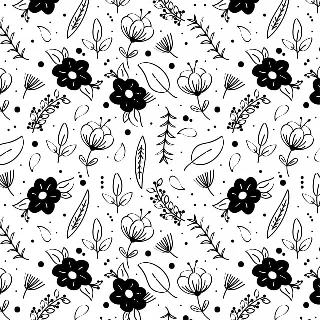 Black And White Floral Pattern Black And White Floral Flowers Png