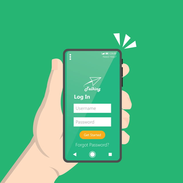 Hand Holding Modern Smartphone With Login Form Interface Concept Clean Design Of Application On Device Screen Isolated With Green Background Vector Illustration Login Website User Png And Vector With Transparent Background For