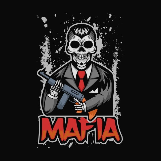 Tengkorak Mafia Vektor Ilustrasi, Seni, Latar Belakang, Lencana
