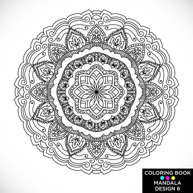 Coloriage Adulte Fond Noir.Mandala Tour Motif Floral Isole Sur Fond Blanc Noir Et Blanc