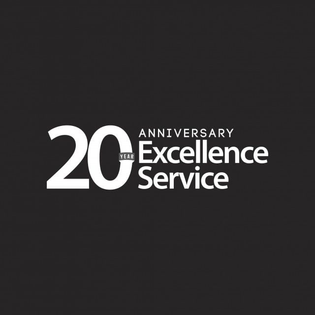 20 Year Anniversary Excellence Service Vector Template