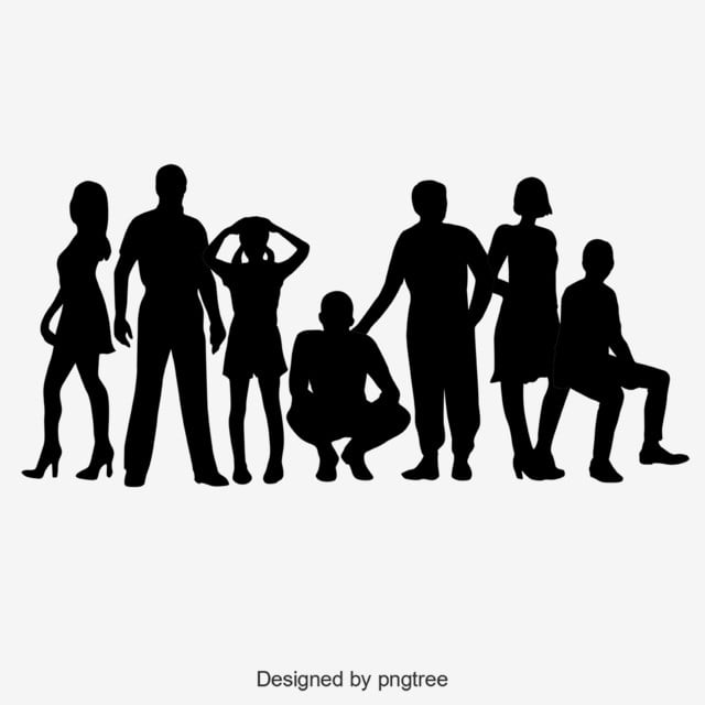 Group Silhouette Of Black Characters, Children, Silhouette ...