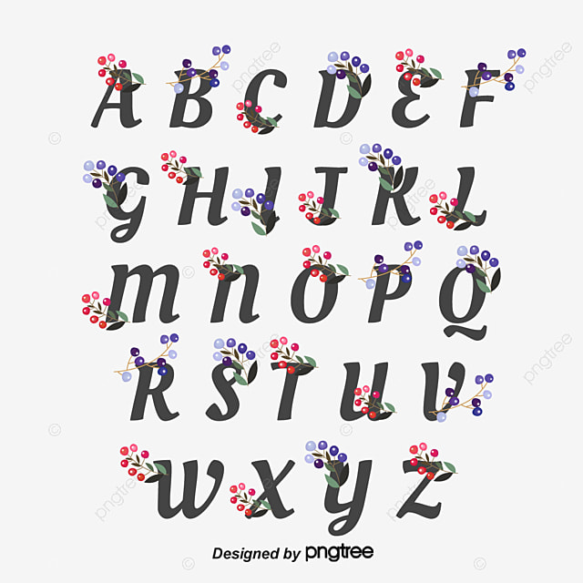 Red and Purple Fruit Flower Alphabet Art Font For Free Download
