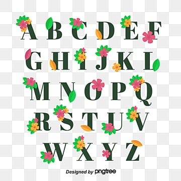 bright yellow green red flower alphabet Fonts
