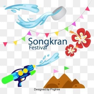 องค์ประกอบของการออกแบบเพื่อเฉลิมฉลองวันสงกรานต์วันสงกรานต์  ธง  ปืนฉีดน้ำ รูปภาพ PNG และเวกเตอร์