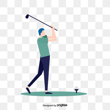 Vector Character Illustration of Golf Swing and Playing Youth Leisure Sports, Character, Leisure Time, Play A Ball PNG and Vector