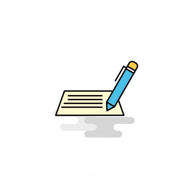 Flat Writing Icon Vector, Background, Black, Blank PNG and
