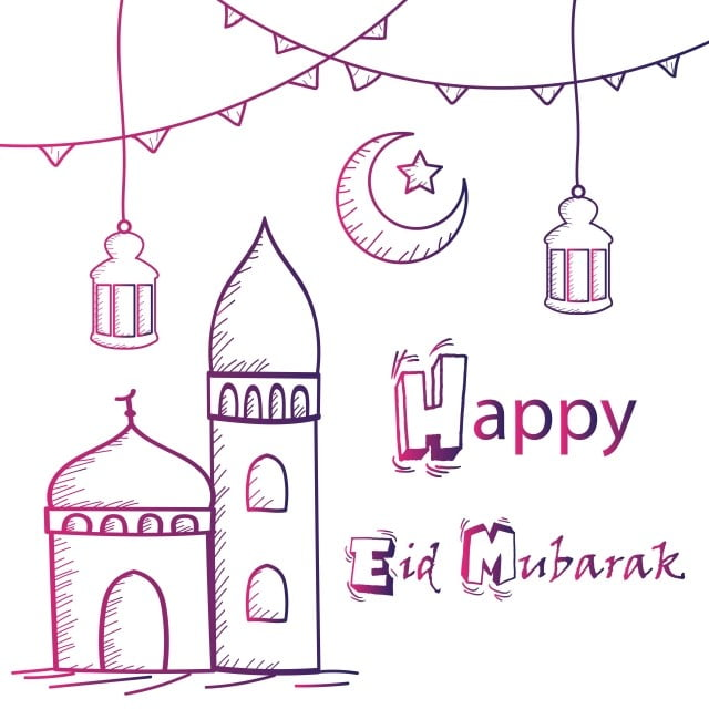 Happy Eid Mubarak Greeting Hand Drawing Style With Mosque Lanterns