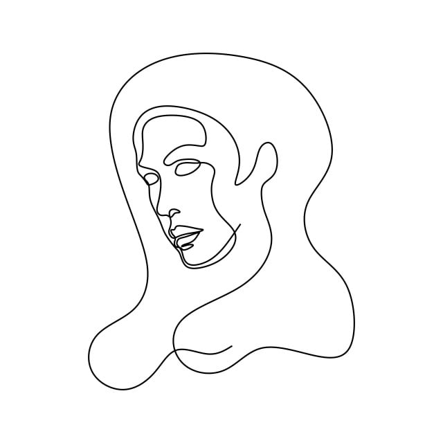 Abstract Face One Line Drawing Portrait Minimalistic