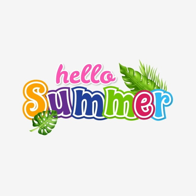 Hello Summer Tropical Flowers Label, Summer, Tropical