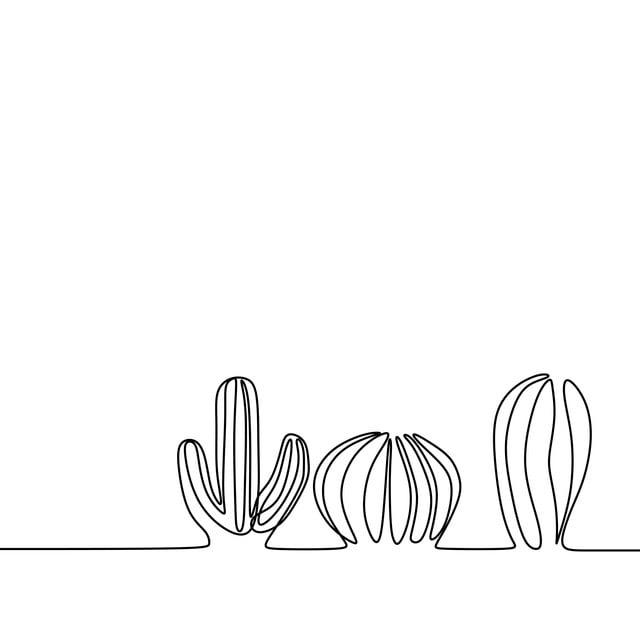 Cactus minimalist. Trendy one line design