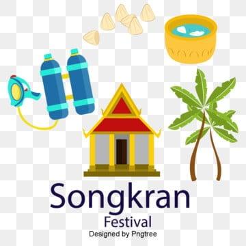 เทศกาลไทยสงกรานต์องค์ประกอบวันสงกรานต์  สถาปัตยกรรม  ปาล์ม รูปภาพ PNG และเวกเตอร์