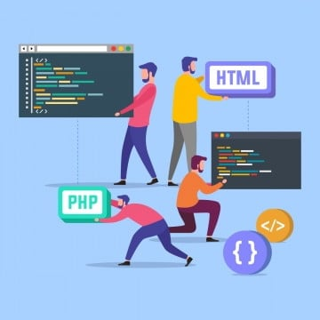 programmers team code the website from the command line flat vector illustration, Digital, Illustration, Young PNG and Vector