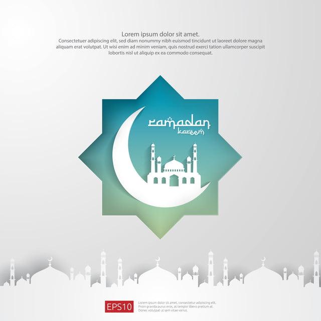 Ramadan Kareem Islamic Greeting Card Design With 3d Moon And Dome