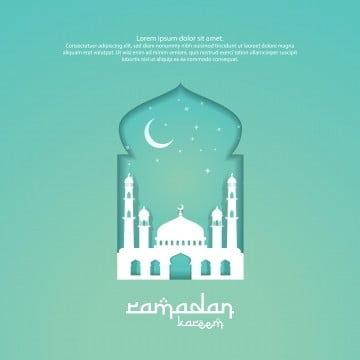 ramadan kareem islamic greeting card design with 3d dome mosque element in door or window with paper cut style   background vector illustration, Ramadan, Background, Mosque PNG and Vector