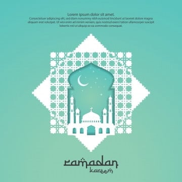 ramadan kareem islamic greeting card design with 3d dome mosque door or window and pattern element  paper cut background style  vector illustration, Ramadan, Background, Mosque PNG and Vector