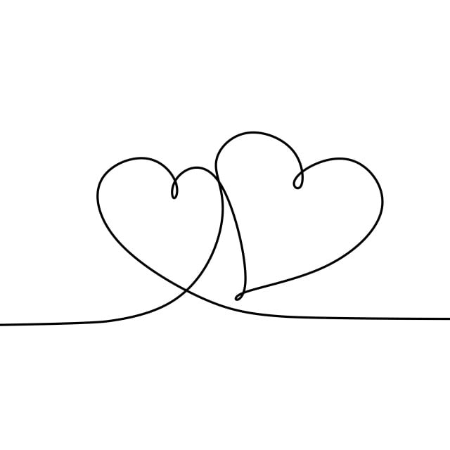 Continuous Line Drawing Of Hands And Love Heart Drawing