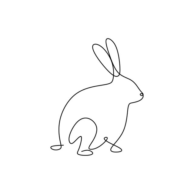 Line Drawings Keep On Rabbit Animals Simple Lines Outline Bunny