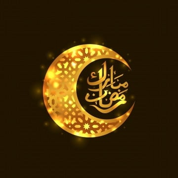 golden crescent moon with geometric pattern with ramadan mubarak calligraphy for islamic event with dark background eid al adha, Eid, Mubarak, Greeting PNG and Vector