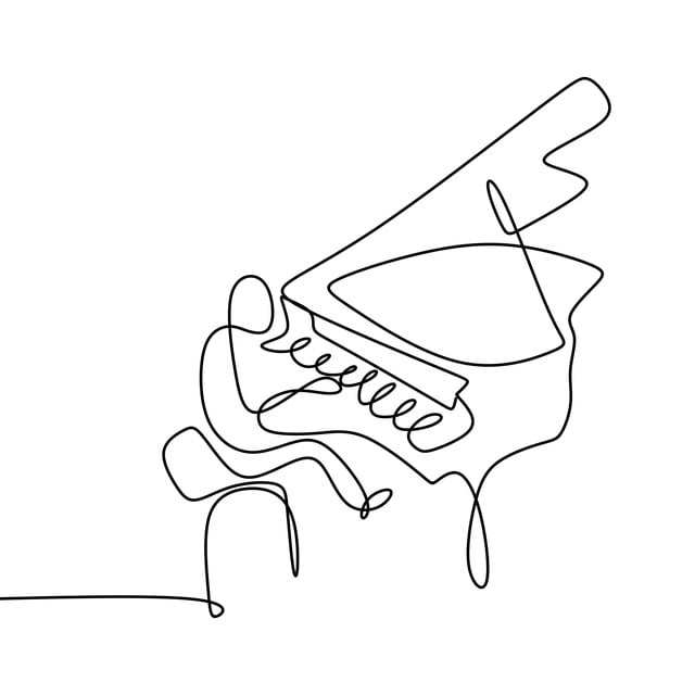 Piano outline. Player one line drawing
