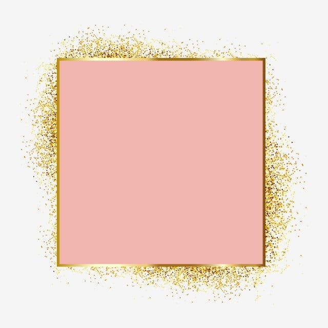 Rose Gold Metal Particles Glitter Frame Framing Elements