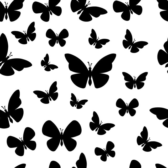 Black And White Butterfly Seamless Patter On White Background Illustration Seamless Background Png And Vector With Transparent Background For Free Download