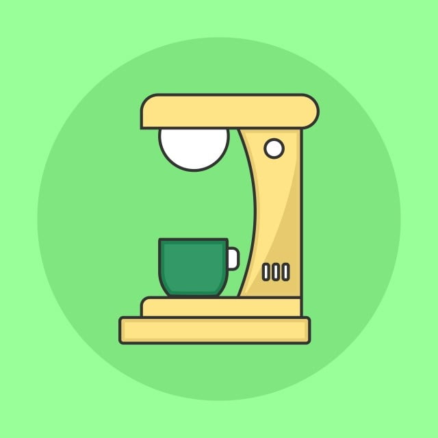 Minimalist Coffee Maker Flat Icon, Png, Coffee, Tea PNG and Vector