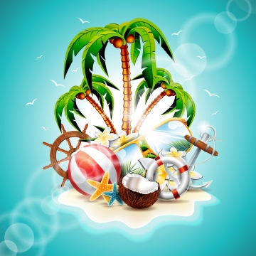 vector illustration on a summer holiday theme with paradise island on sea background, Travel, Sand, Vector PNG and Vector