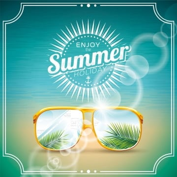vector illustration on a summer holiday theme with sunglasses, Travel, Sand, Vector PNG and Vector