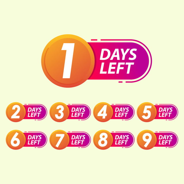 Set Of Number Days Left Countdown Template, Countdown, Day, Left PNG