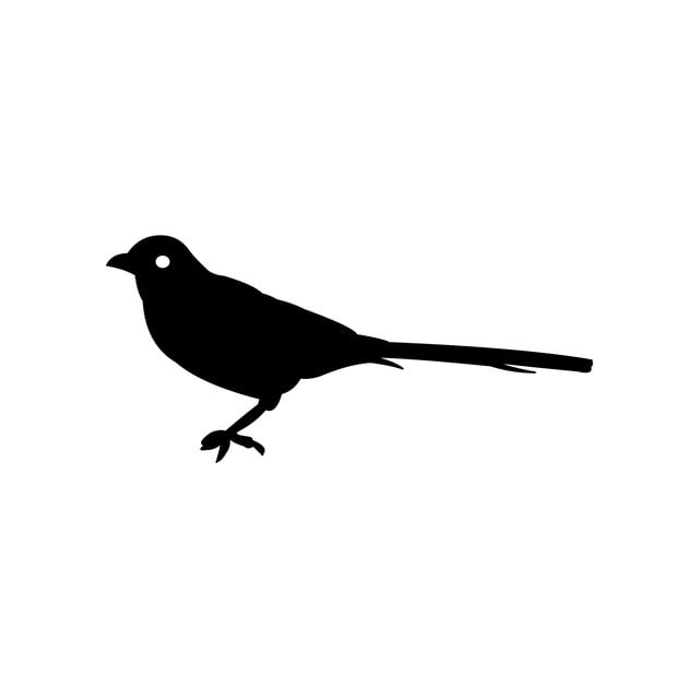 Small Bird Silhouette, Simple Design, Animal Hack, Template