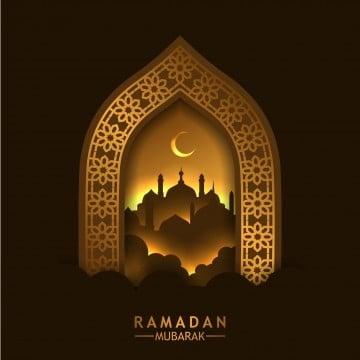 جميلة نمط هندسي الذهبي إطار الباب مع انعكاس صورة ظلية المسجد, 3d, عرب, عربية بابوا نيو غينيا وناقلات