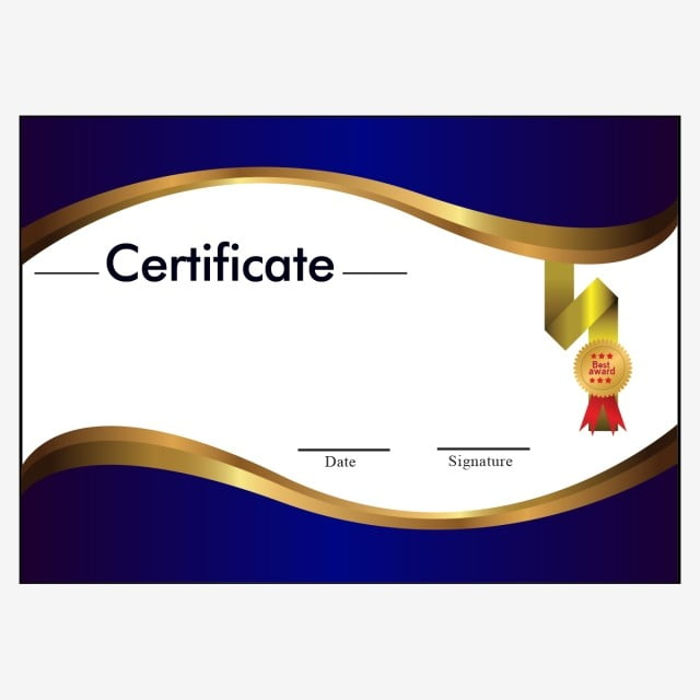 atmospheric high end blue border certificate  certificate  template  diploma png and vector with