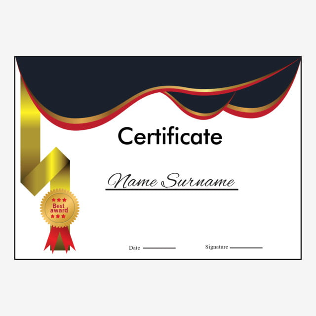 Certificate Elements Layout With Wavy Shape Border ...