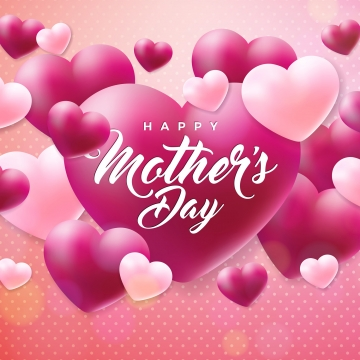 Happy Mothers Day Greeting card with hearth on pink background  Vector Celebration Illustration template with typographic design for banner  flyer  invitation  brochure  poster, Mother, Flower, Happy PNG and Vector