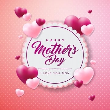 Happy Mothers Day Greeting card with hearth on pink background. Vector Celebration Illustration template with typographic design for banner, flyer, invitation, brochure, poster, Mother, Flower, Happy PNG and Vector