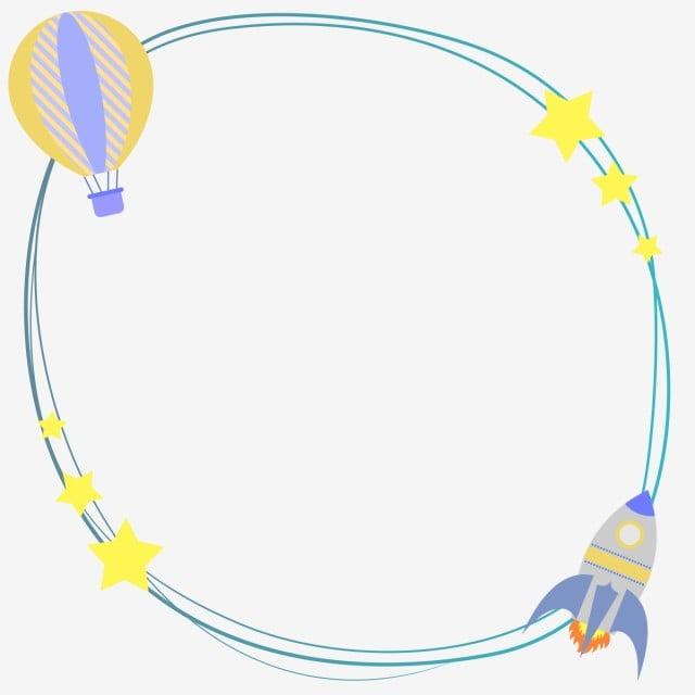 Frame Border Rocket Balloon Stars Baby Shower Invitation