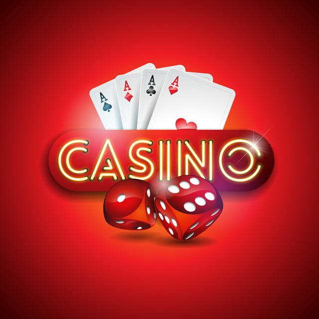Gambar Ilustrasi Vektor Pada Tema Kasino Dengan Kartu Neon Terang Berkilau Dan Kartu Poker Pada Desain Perjudian Latar Belakang Merah Untuk Undangan Atau Spanduk Promo Dengan Dadu Kasino Perjudian Menang Png Dan
